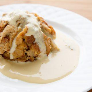 Caramel Macchiato Bread Pudding with Kahlua Crème Anglaise