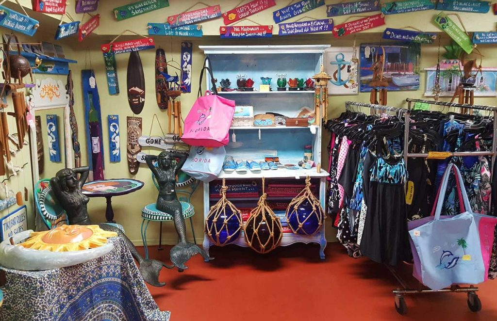 view of metchandise inside a shop on Matlacha