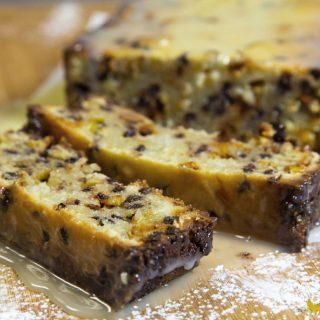Italian Cannoli Pound Cake with a White Chocolate Ganache