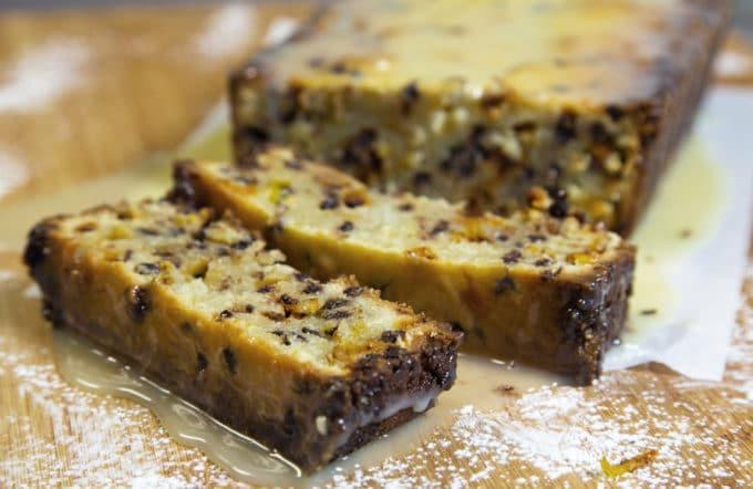 cannoli pound cake sliced sitting on a cutting board