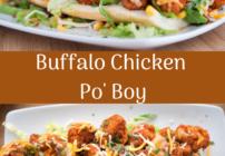 pinterest image for Buffalo Chicken Po' Boy
