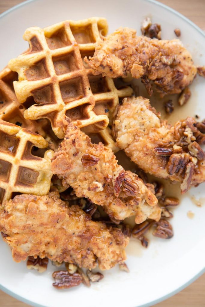 Sweet Potato waffle, butter pecan syrup