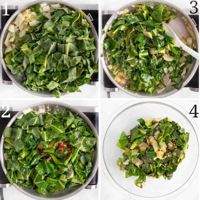 four images showing how to prep onions and collard greens for meatloaf