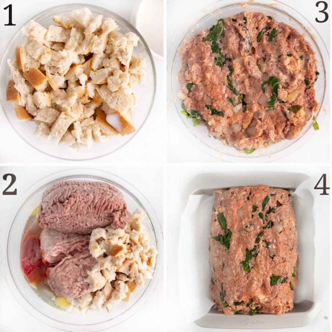 four images showing how to mix ingredients for meatloaf