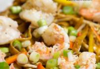 pinterest image of dan dan noodles with shrimp