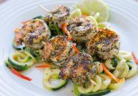 lemon, basil, shrimp, zucchini, spiralizer