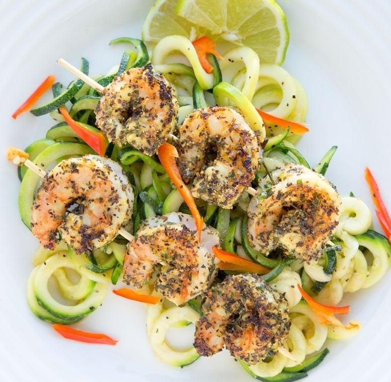 lemon, basil, shrimp, zucchini noodles