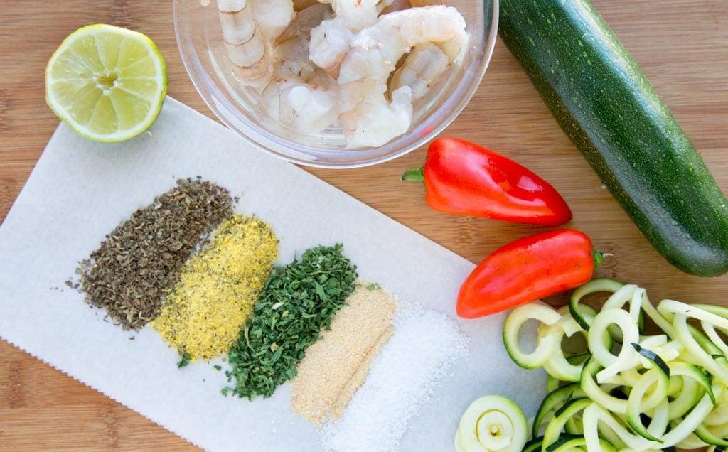 mise en place, lemon, basil, shrimp