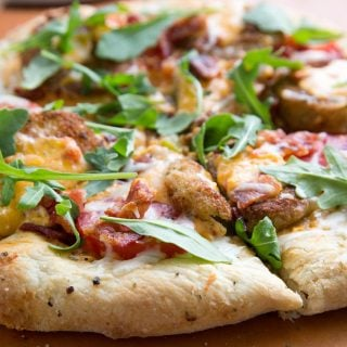 Southern Style Pizza with Pimento Cheese, Fried Green Tomatoes and Bacon