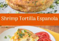 pinterest image for shrimp tortilla espanola