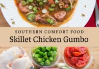 Pinterest image for skillet chicken gumbo