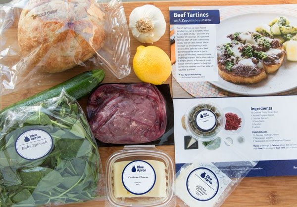 Beef Tartine mise en place by Blue Apron