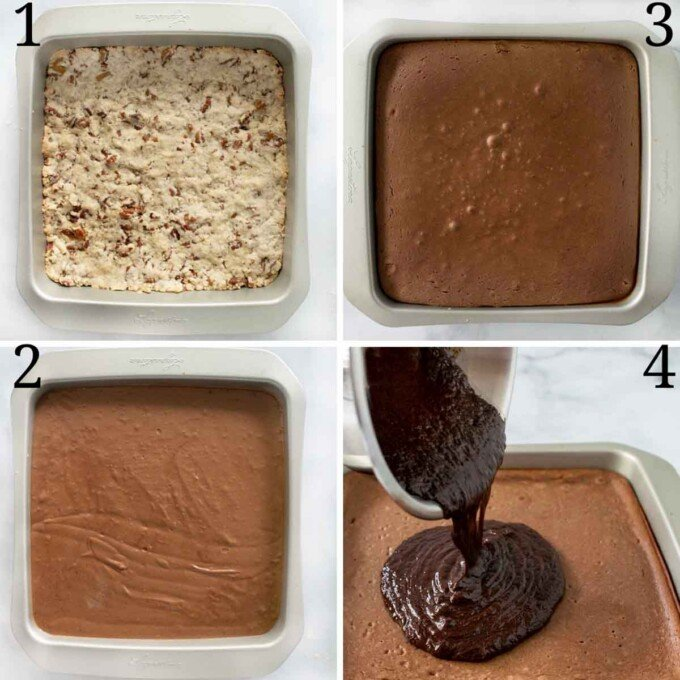 4 images showing how bake the the chocolate cheesecake bars