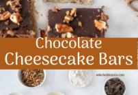 pinterest image for chocolate cheesecake bars