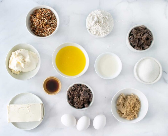 overhead view of ingredients to make chocolate cheesecake bars