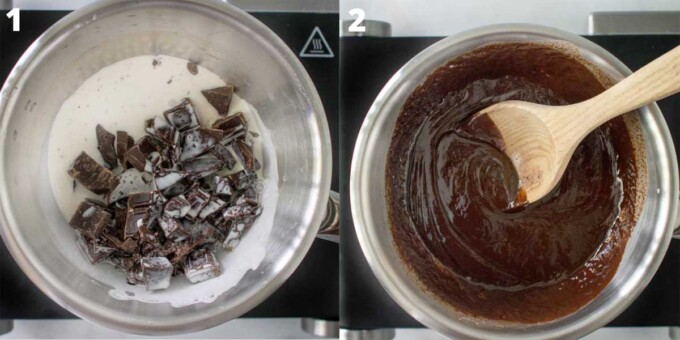 2 images showing how to make chocolate ganache
