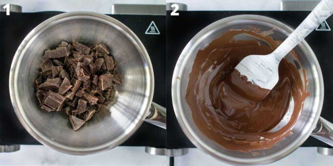 2 images showing how to melt chocolate