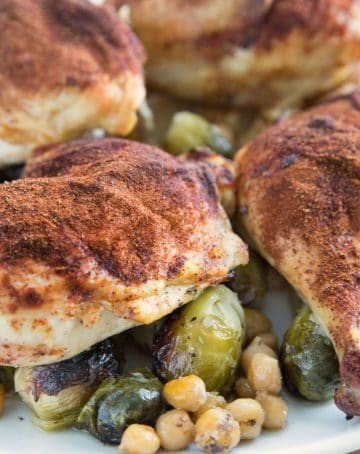 Smoky Roasted Chicken with Brussels Sprouts and Chic Peas