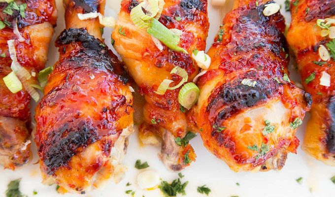 Asian Glazed Bacon Wrapped Chicken Legs with A Pineapple-Mango Salsa