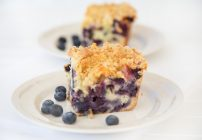 blueberry buckle with key lime syrup