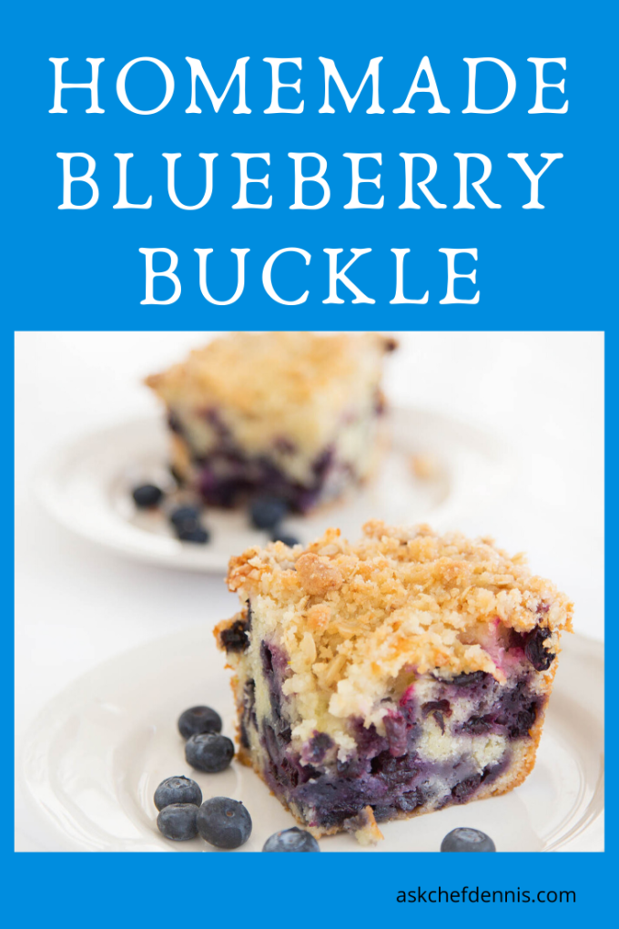 pinterest image for blueberry buckle