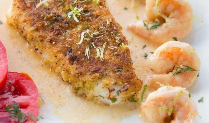 Lime Crusted Chilean Sea Bass with Florida Pink Shrimp