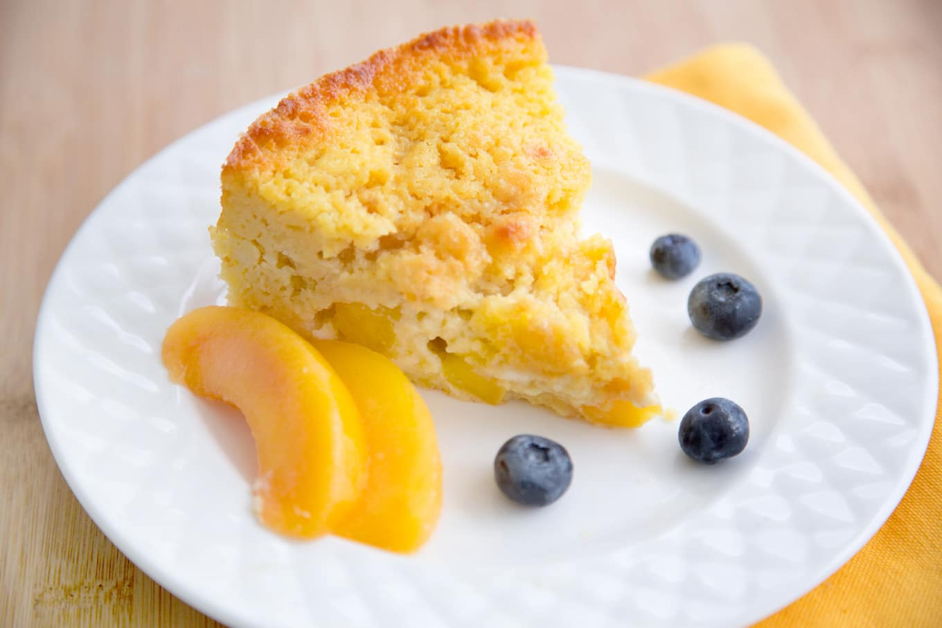 peaches and cream cottage cheese breakfast cake 2