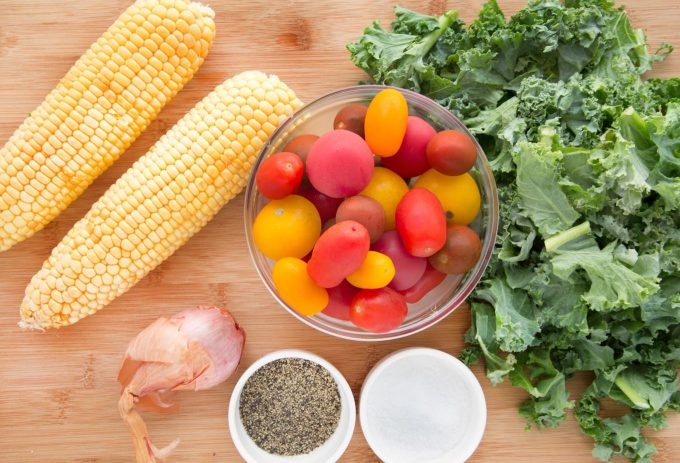 kale and corn succotash mise en place