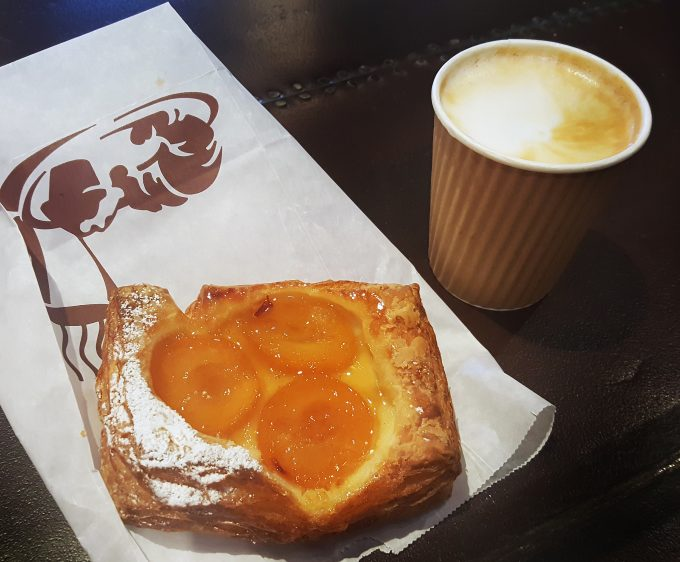 apricot-danish with cappuccino at Ponce City Market, Buckhead Atlanta