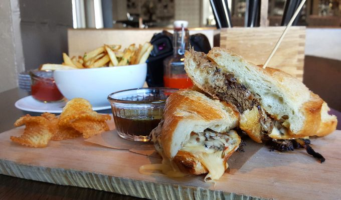 short rib sandwich with truffle fries at