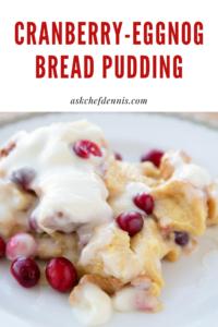 pinterest image for cranberry eggnog btead pudding