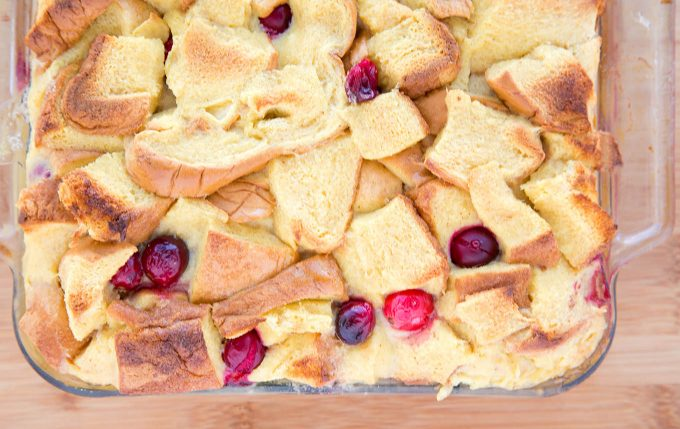 Cranberry Eggnog Bread Pudding