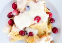 Cranberry Eggnog Bread Pudding with a Bourbon Cream Cheese Frosting
