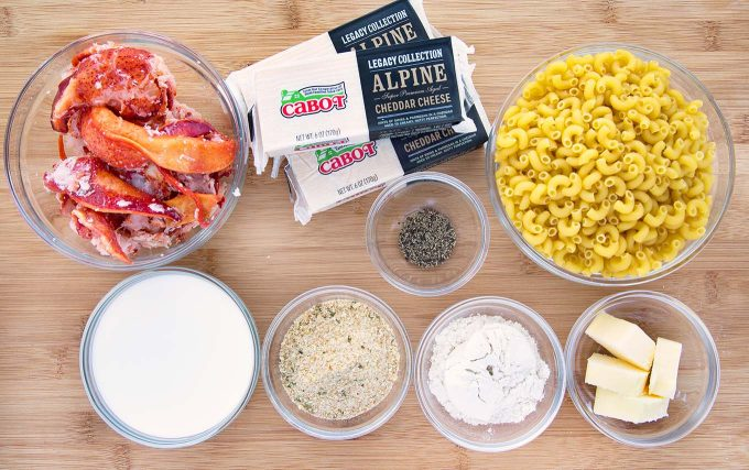 White cheddar Lobster mac and cheese mise en place