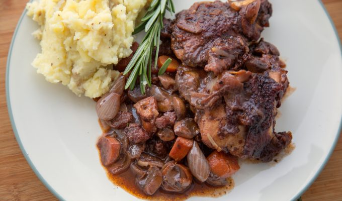 Coq au Vin for Two – a Classic French Provencial dish