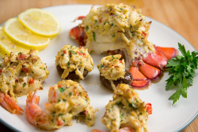 stuffed seafood trio