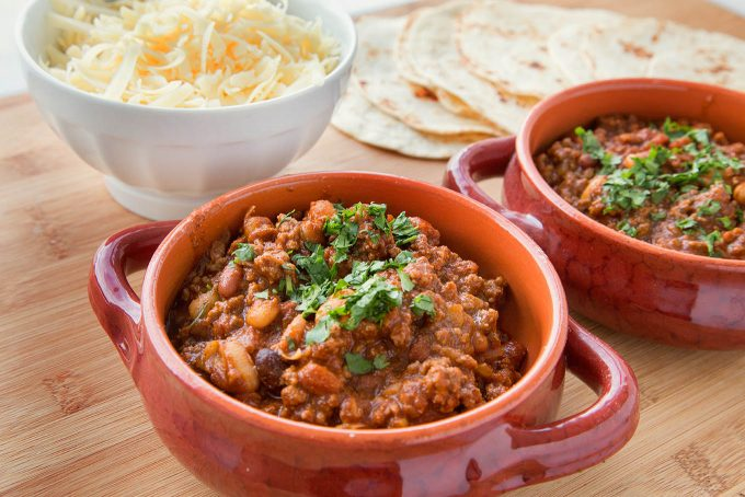 easy to make Tailgate three bean chili