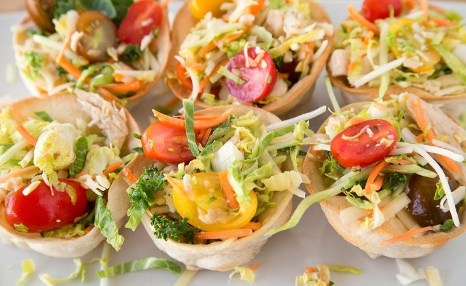 Create Deliciousness and have some fun in your kitchen with my Chicken Taco Cup Salad Recipe!