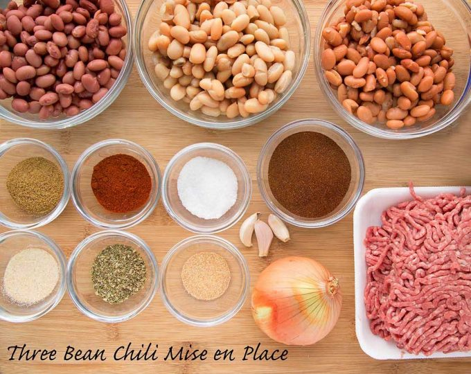 three bean chili mise en place