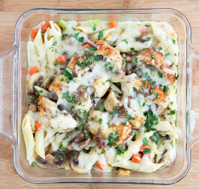 Chicken and Mushroom Pasta Bake