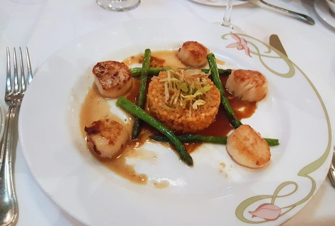 Caramelized Scallops at Animators Palate on board the Disney Dream