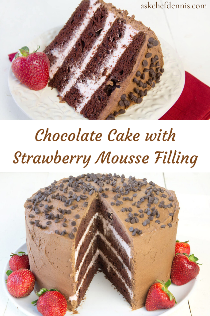 Pinterest Image for 4 layer Chocolate Cake with a Strawberry Mousse Filling