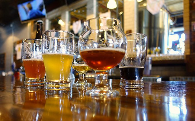 craft beer samples at Preyer Brewing Company, Greensboro, NC