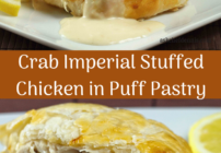 Pinterest image for crab imperial stuffed chicken