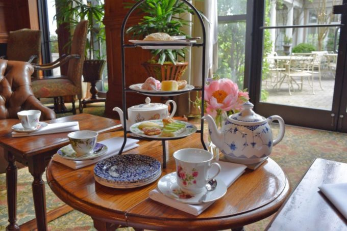 high tea set up at the O.Henry Hotel