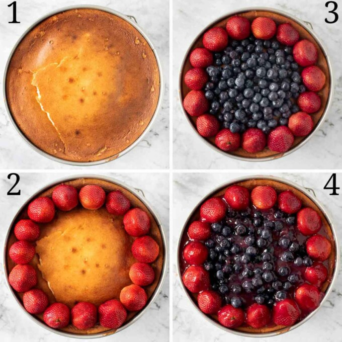 four images showing how to top the cheesecake with berries