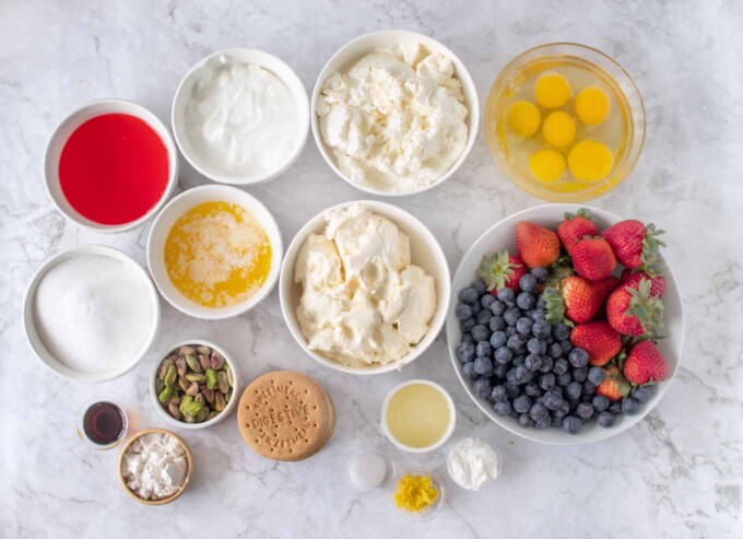 overhead view of ingredients to make ricotta cheesecake