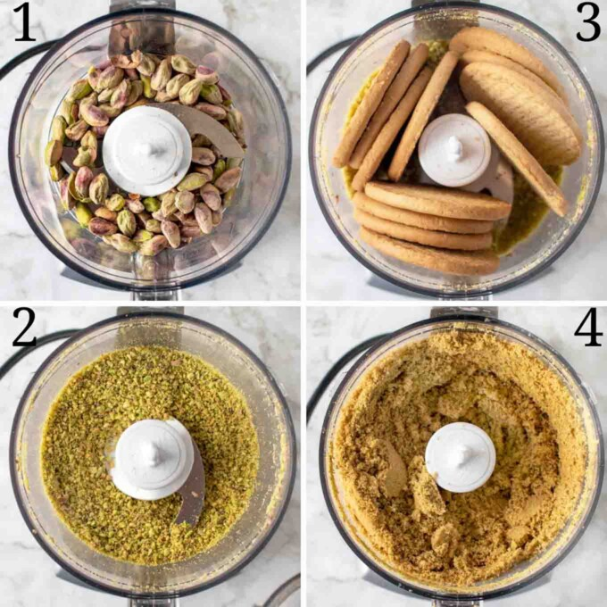 four images showing how to prepare the cheesecake crust