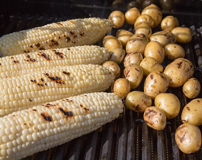 grilled corn and potatoes on a char-broil grill