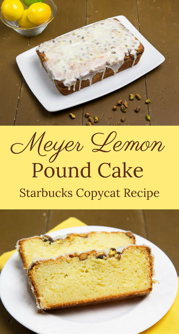 This Meyer Lemon Pound Cake with a lemon-lime glaze will delight your friends and family.  This easy to make Starbucks Copycat Recipe will become your go-to pound cake.